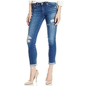 Ag Stilt Roll Up Distressed Jeans